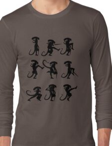 Ministry of Alien Silly Walks (Black Version) Long Sleeve T-Shirt