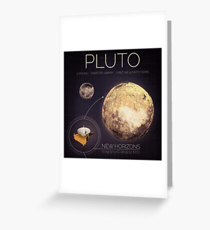 Planet Pluto Infographic NASA Greeting Card