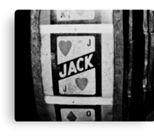 jack of hearts: vintage poker machine Canvas Print