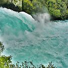 Huka Falls. Headwaters of the Waikato River,Taupo, New Zealand. by Lynne Haselden