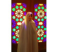 Veiled girl in a mosque, Iran Photographic Print