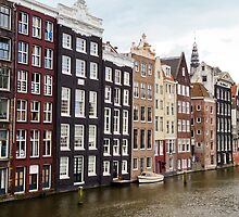 Leaning houses of Amsterdam, Netherlands by Jo Blunn