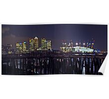 Canary Wharf and the O2 (Millennium Dome) Poster