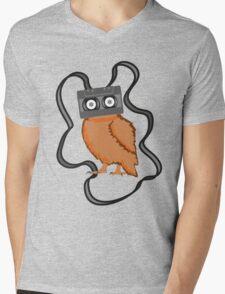 Cassette Owl Mens V-Neck T-Shirt