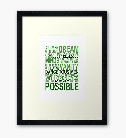 'All Men Dream' Quote [GREEN] Framed Print