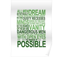 'All Men Dream' Quote [GREEN] Poster