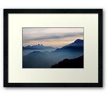 Dolomiti sunset in blue Framed Print