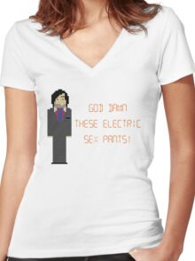 The IT Crowd – God Damn These Electric Sex Pants! Women's Fitted V-Neck T-Shirt