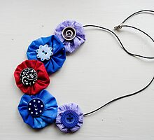 Fabric Flower Necklace by Alice Oates