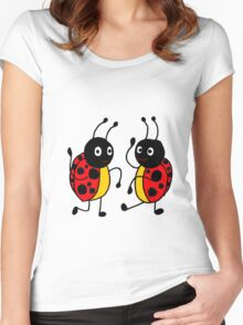 Funky Dancing Ladybugs Women's Fitted Scoop T-Shirt