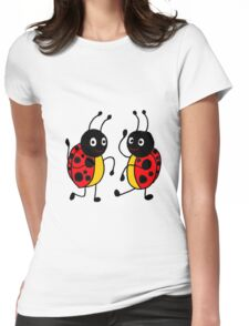 Funky Dancing Ladybugs Womens Fitted T-Shirt