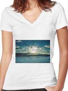 Desert Sunset Women's Fitted V-Neck T-Shirt