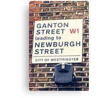 London street sign in Soho Canvas Print