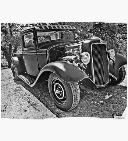 34 Ford Pickup Black & White Poster