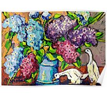 LILAC FLORAL BOUQUET WITH CERAMIC DUCKS ORIGINAL PAINTING  Poster