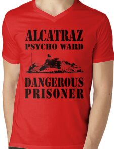 Alcatraz Psycho Ward Dangerous Prisoner Mens V-Neck T-Shirt