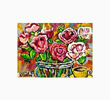 RED ROSES IN A GLASS VASE BEAUTIFUL FLORAL ARRANGEMENT  ORIGINAL PAINTING Unisex T-Shirt