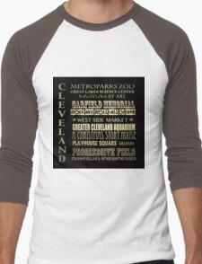Cleveland Ohio Famous Landmarks Men's Baseball ¾ T-Shirt