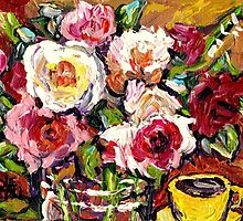 BEAUTIFUL FLORAL BOUQUET WITH YELLOW ROSES IN A VASE by Carole  Spandau