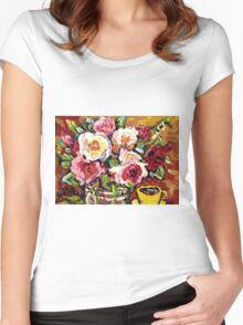 BEAUTIFUL FLORAL BOUQUET WITH YELLOW ROSES IN A VASE Women's Fitted Scoop T-Shirt