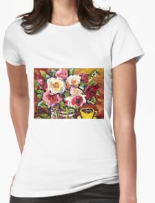 BEAUTIFUL FLORAL BOUQUET WITH YELLOW ROSES IN A VASE Womens Fitted T-Shirt