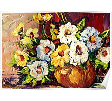 YELLOW AND WHITE FLOWERS BEAUTIFUL BOUQUET  Poster