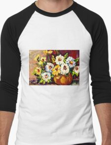 YELLOW AND WHITE FLOWERS BEAUTIFUL BOUQUET  Men's Baseball ¾ T-Shirt