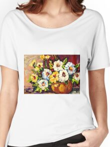 YELLOW AND WHITE FLOWERS BEAUTIFUL BOUQUET  Women's Relaxed Fit T-Shirt