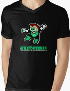 Willpowerman Mens V-Neck T-Shirt