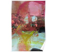 Red Pink Green abstract print  Poster