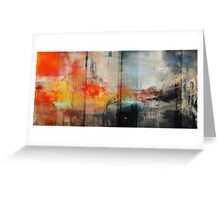 Large Abstract Art, Blue Orange Abstract Print  Greeting Card