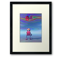 Little Red Birthday Robot 2 Framed Print