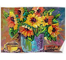 BEAUTIFUL SUNFLOWERS IN BLUE VASE ORIGINAL FLORAL PAINTING FOR SALE Poster