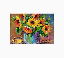 BEAUTIFUL SUNFLOWERS IN BLUE VASE ORIGINAL FLORAL PAINTING FOR SALE T-Shirt