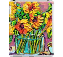FLORAL STILL LIFE SUNFLOWERS WITH CUP COLORFUL ORIGINAL PAINTING iPad Case/Skin