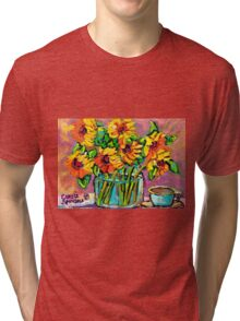 FLORAL STILL LIFE SUNFLOWERS WITH CUP COLORFUL ORIGINAL PAINTING Tri-blend T-Shirt