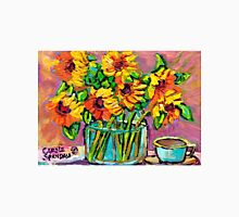 FLORAL STILL LIFE SUNFLOWERS WITH CUP COLORFUL ORIGINAL PAINTING Unisex T-Shirt