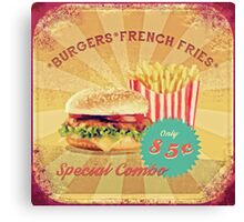 50s Burger and Chips ! Canvas Print
