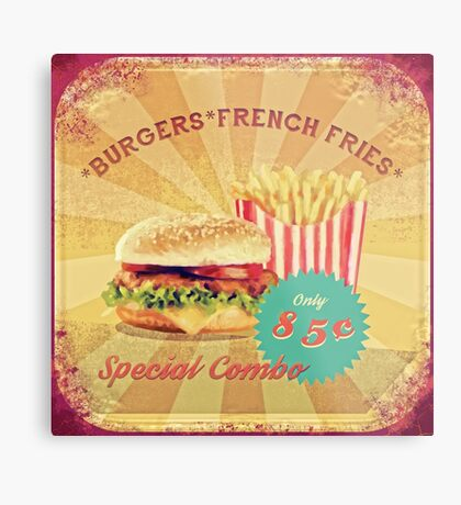 50s Burger and Chips ! Metal Print