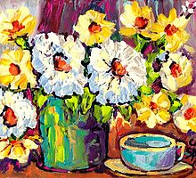 WHITE AND YELLOW FLOWERS IN A VASE COLORFUL ORIGINAL PAINTING by Carole  Spandau
