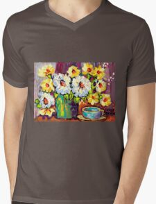 WHITE AND YELLOW FLOWERS IN A VASE COLORFUL ORIGINAL PAINTING Mens V-Neck T-Shirt