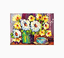 WHITE AND YELLOW FLOWERS IN A VASE COLORFUL ORIGINAL PAINTING T-Shirt