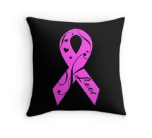 Pink Breast Cancer Ribbon With Love  Throw Pillow
