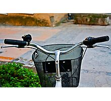 BICYCLE BASKET COLORFOUL STREET Photographic Print