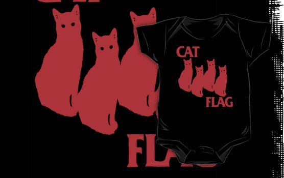 Cat Flag Red !  by BUB THE ZOMBIE