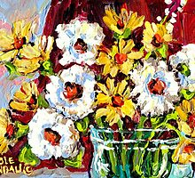 BEAUTIFUL FORAL ARRANGEMENT WITE AND YELLOW DAISIES ORIGINAL PAINTNG by Carole  Spandau