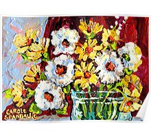 BEAUTIFUL FORAL ARRANGEMENT WITE AND YELLOW DAISIES ORIGINAL PAINTNG Poster