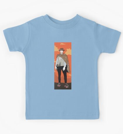 The man with no name but with some skates (with background) Kids Tee