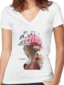 Collage italian Florence spirit renaissance Women's Fitted V-Neck T-Shirt