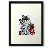 KITTEN WITH RED ROSES ,Black and White Framed Print